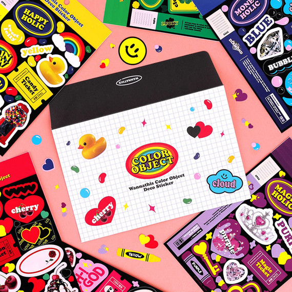 Wanna This Color object removable deco 6 sticker sheets set