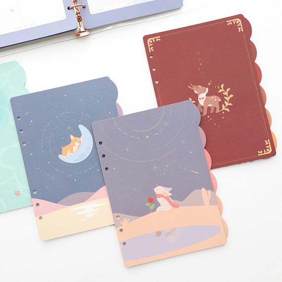 PLEPLE Chou Chou A5 size 6 holes index paper refills set