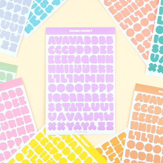Wanna This Ddung phabet pastel Alphabet letter sticker