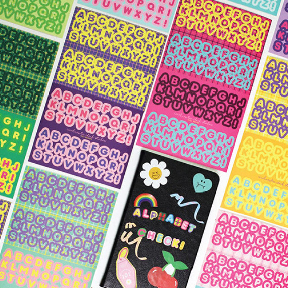 ICIEL Newtro check Alphabet paper removable sticker