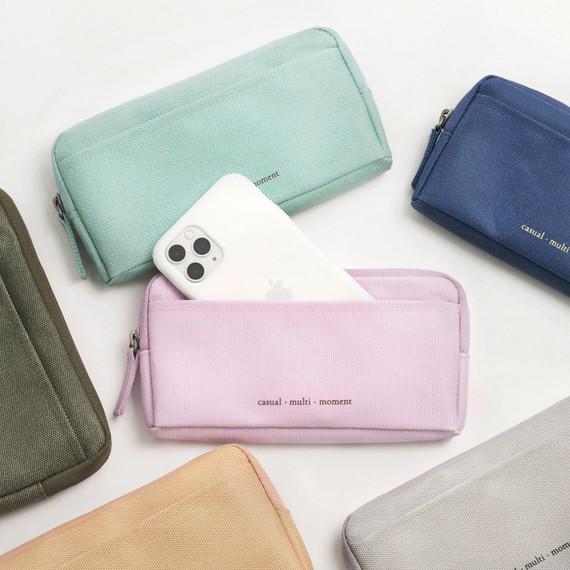 Byfulldesign Oxford multi pocket long zipper pouch