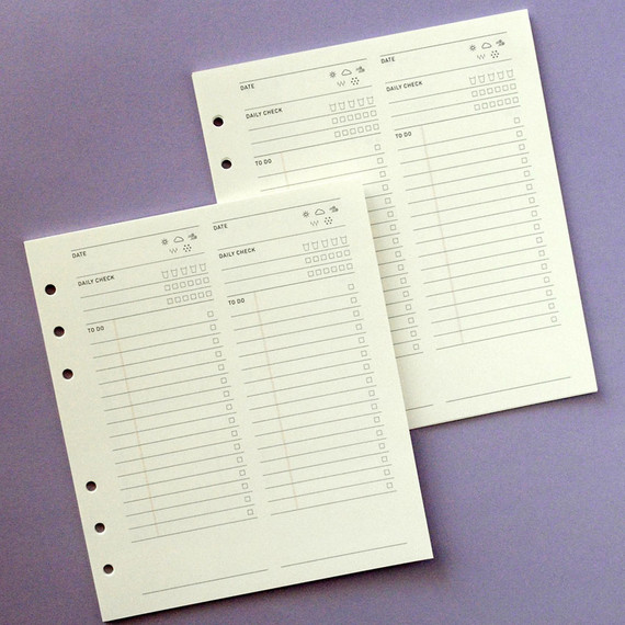 Jam Studio Daily checklist wide A6 6 ring paper refill set
