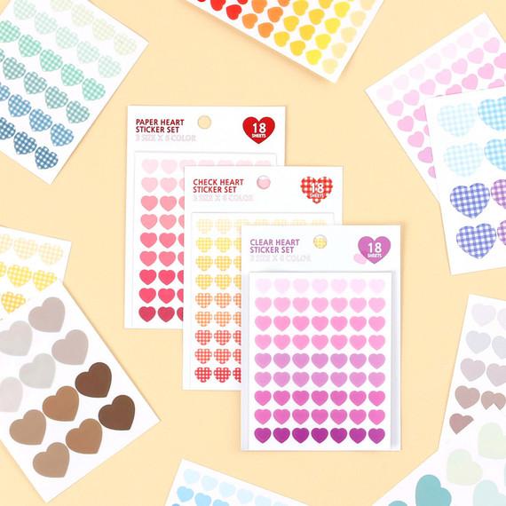 Colorful heart deco sticker set