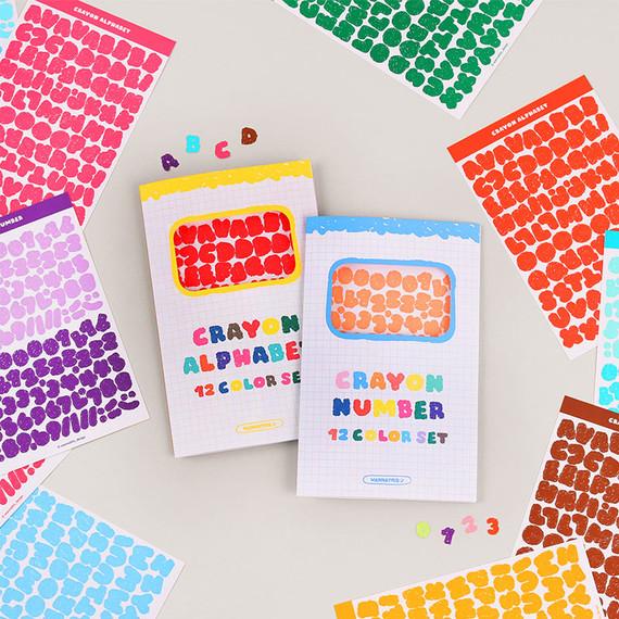 Wanna This Crayon Alphabet number 12 colors paper sticker set