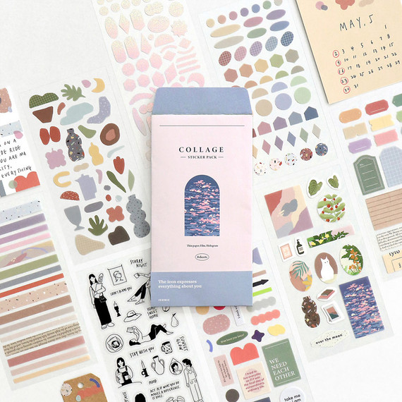 ICONIC Collage sticker pack of 8 sheets