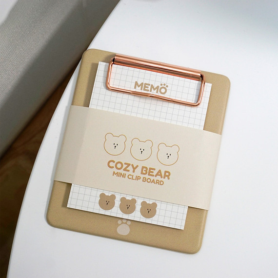N.IVY Cozy Bear clipboard holder with sticky notepad