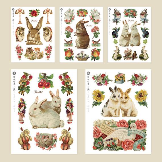 Rabbit self-cut paper and clear sticker set