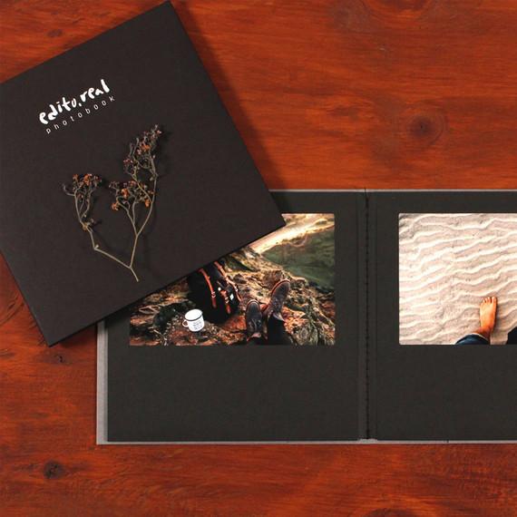 Black - Editorial 4X6 Photo Album Holds 12 Photos