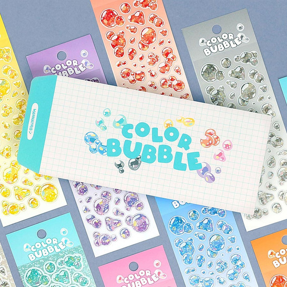 Wanna This Color Bubble Holographic Paper Sticker Pack