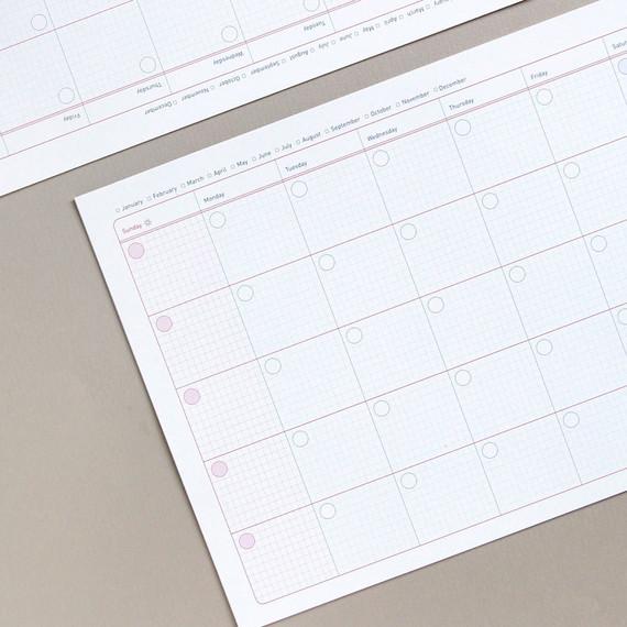 Jam studio A4 Monthly Dateless Desk Planner Paper Refills