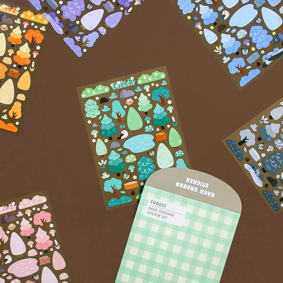Second Mansion Background Forest Paper Sticker Pack 01-06