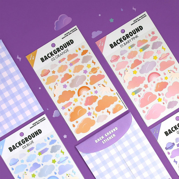 Second Mansion Background Sky Removable Paper Sticker Pack 01-06