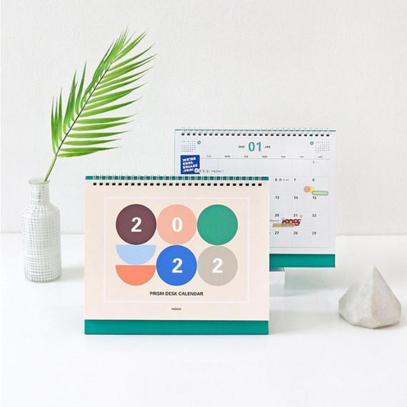Indigo 2022 Prism monthly desk standing calendar