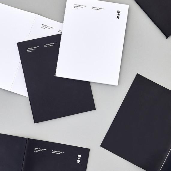 Ardium B+W Stitch 80 pages Blank Notebook