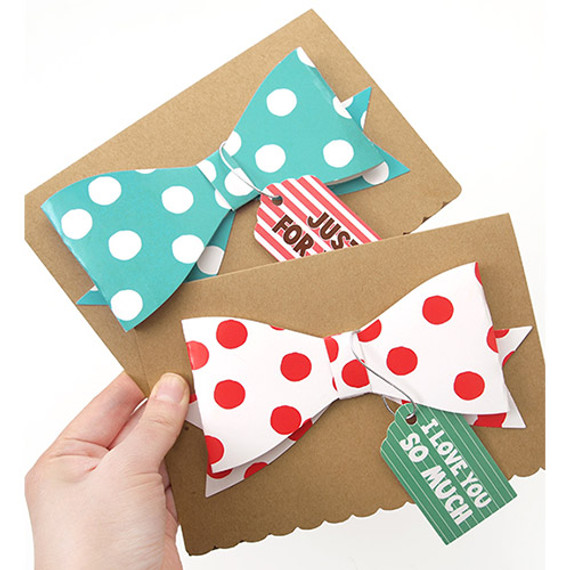 Congratulation ribbon kraft card with color dot envelope