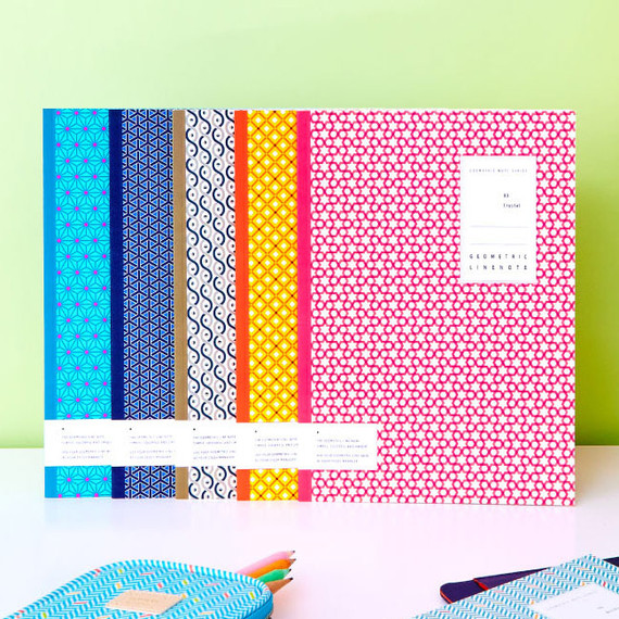 Geometric pattern lined notebook large