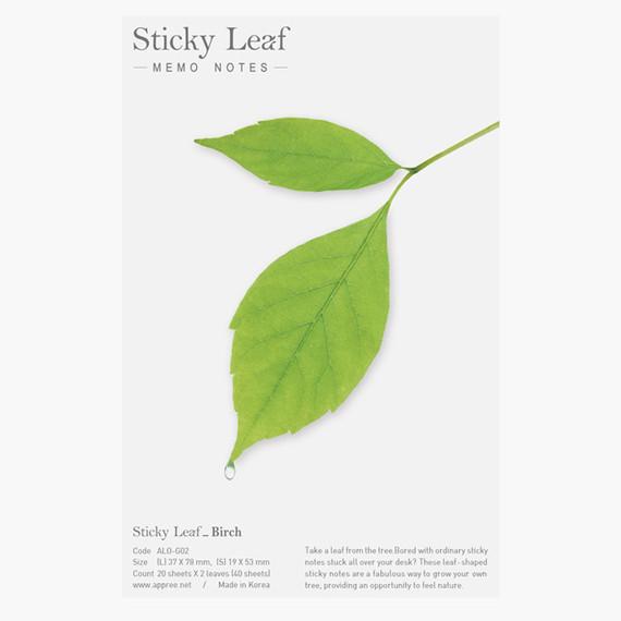 Birch leaf green sticky memo notes Medium
