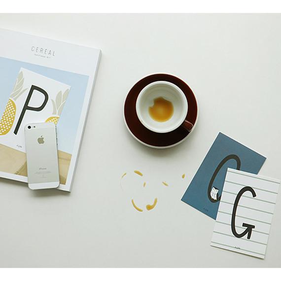 Alphabet illustration postcard