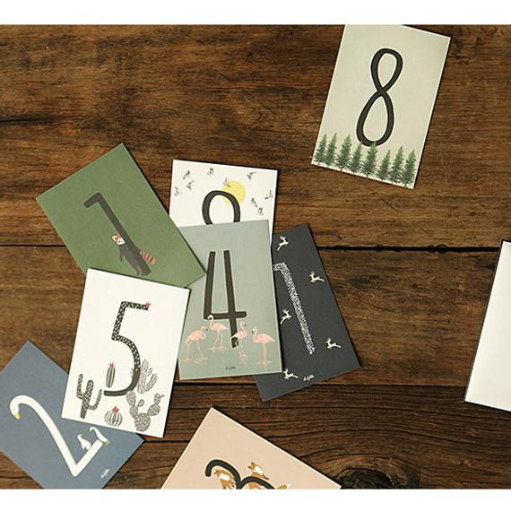 Number illustration postcard