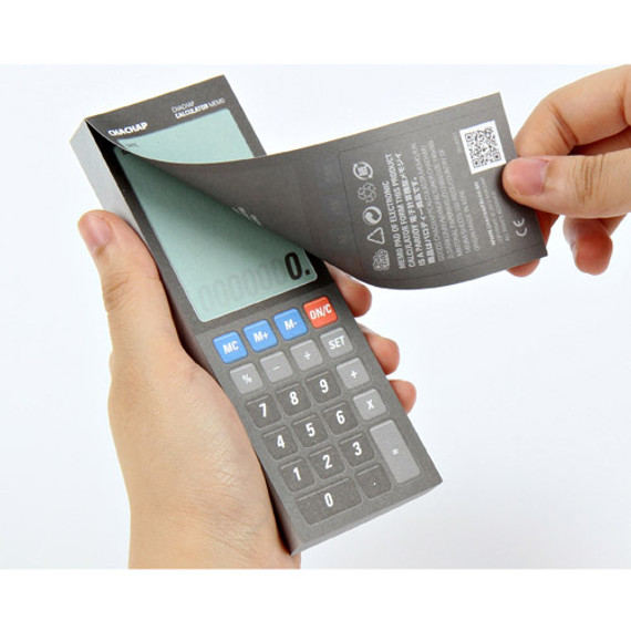 Electronic calculator memo pad dark gray