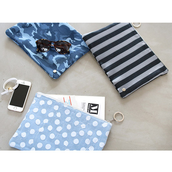 The Basic denim large zipper pouch