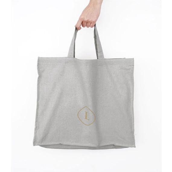 Gray - Invite.L Linen 3 rectangle eco tote bag