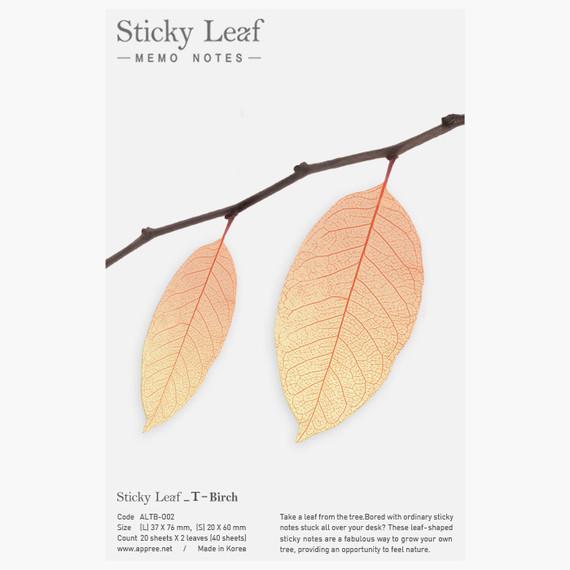 Birch leaf orange transparent sticky memo notes