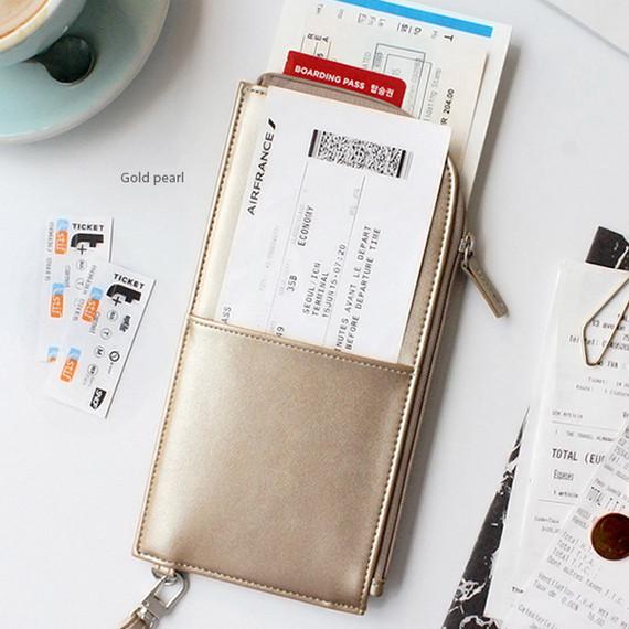 Gold pearl - Bon voyage doux souvenir passport pouch