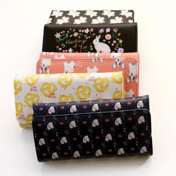 Rim pattern clear long wallet