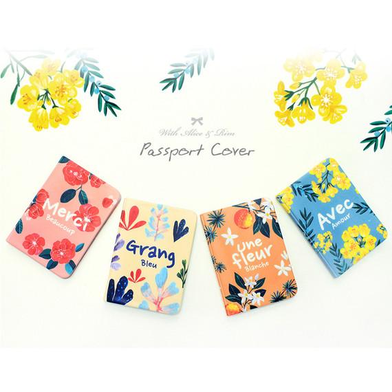 Rim flower pattern passport cover case