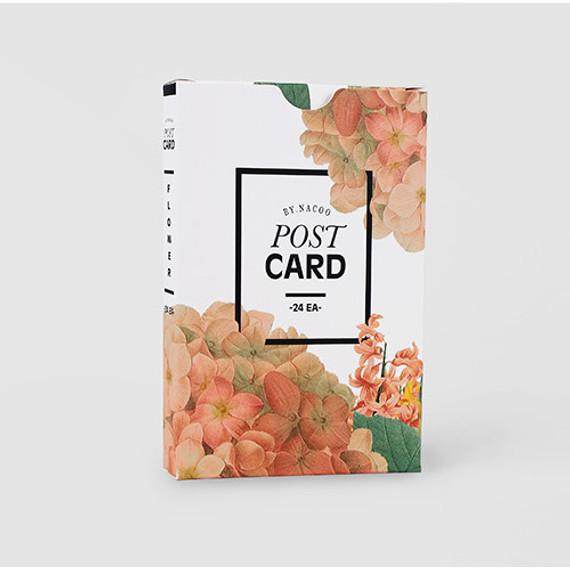 Flower illustration postcard set