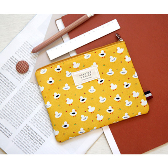 Dorothy and Alice pattern multi zipper pouch