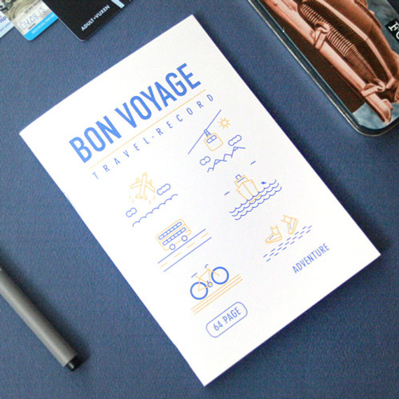 Bon voyage travel record planner note