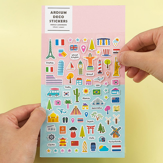 Colorful and unique world landmark deco sticker