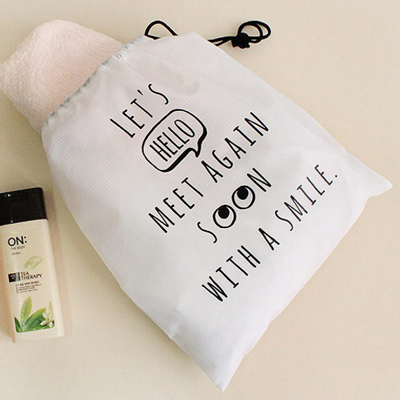 Black - Hello sweet drawstring large pouch
