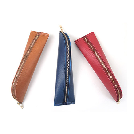 Triangle synthetic leather zipper pencil case
