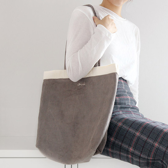 Around'D corduroy line shoulder bag tote