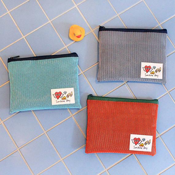 Hello sunshine day mesh zipper pouch
