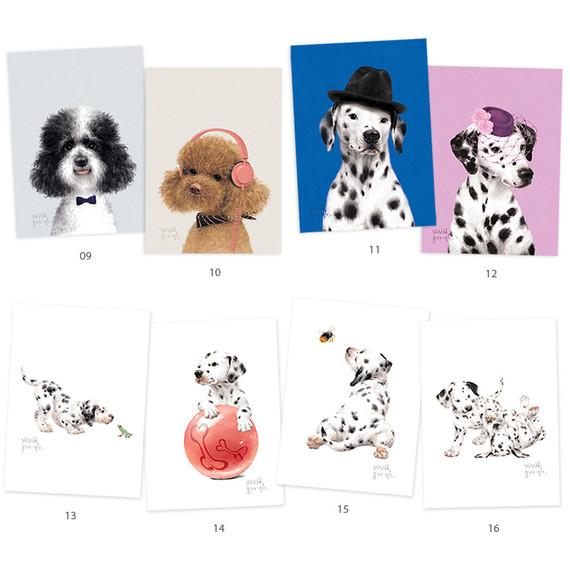 Vivid puppy illustration postcard - B
