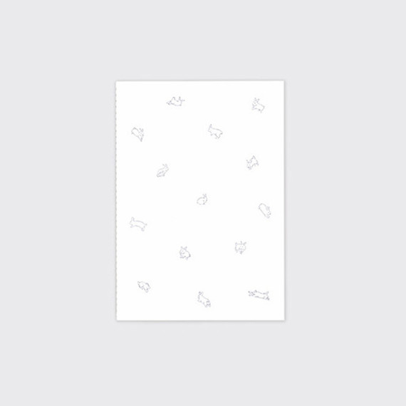 Jumping bunny sewn bound white lined notebook