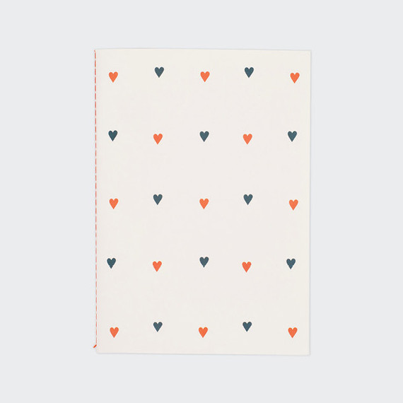 Heart pattern sewn bound A5 lined notebook