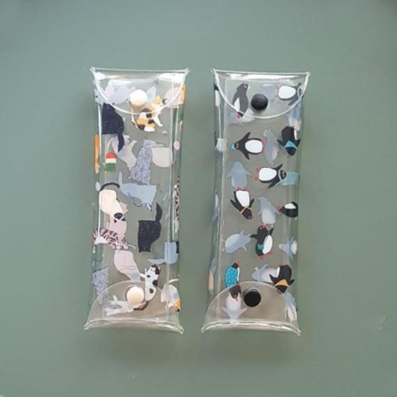 Buri cat and penguin clear folding pencil case