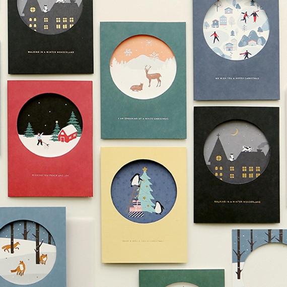 Christmas illustration folding message card
