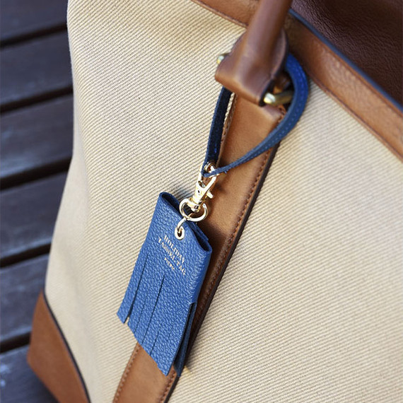 Holiday cowhide leather tassel luggage name tag