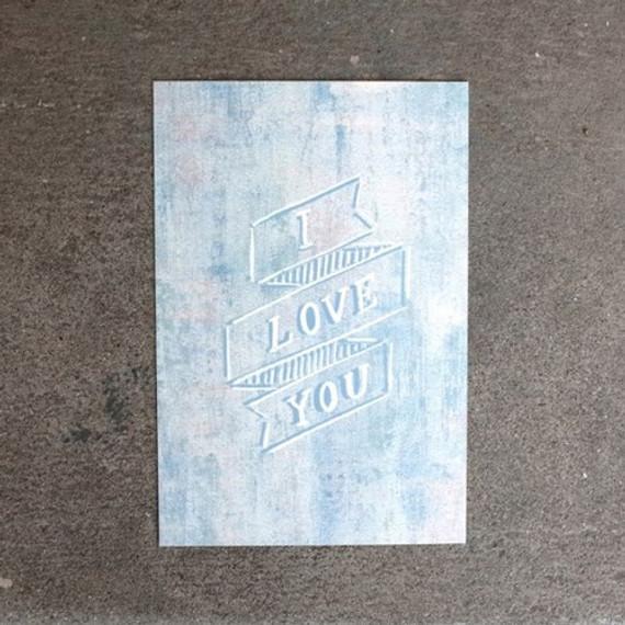 I love you message postcard