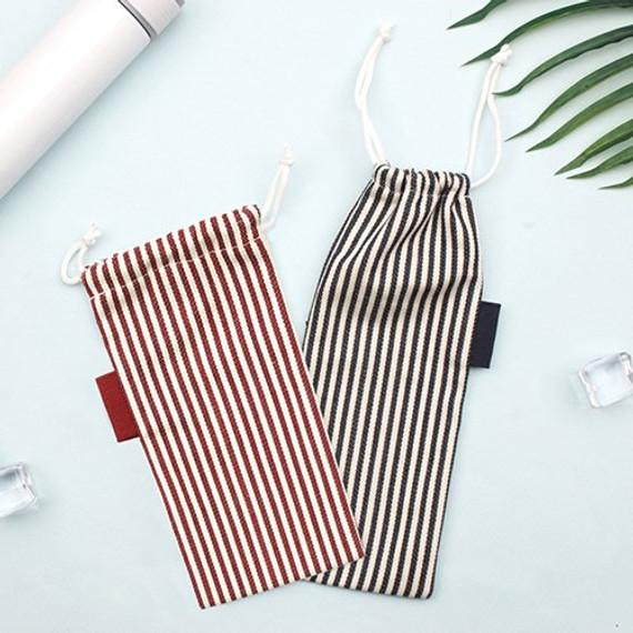 Bookfriends Stripe small drawstring pouch