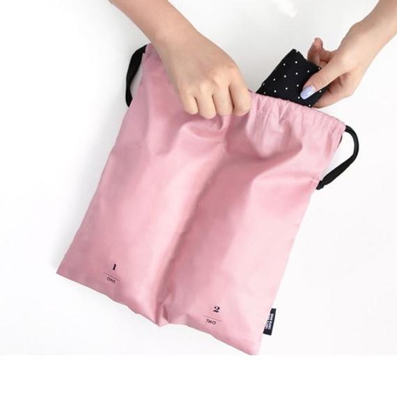 Split travel divided cotton drawstring pouch