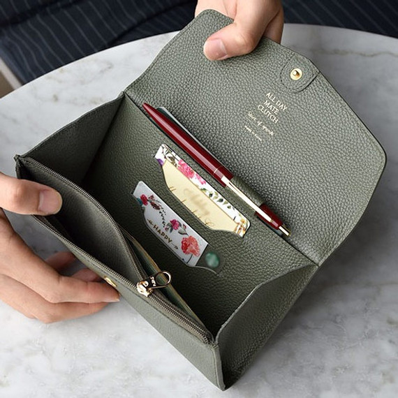 Detail of Allday mate genuine cowhide leather clutch wallet