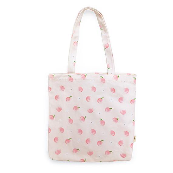 O-check Peach pattern cotton shoulder bag