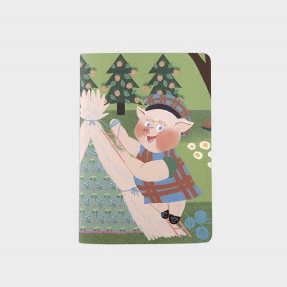SOSOMOONGOO Wolf is coming sewn bound small grid notebook